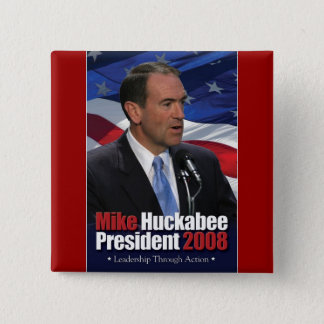 Mike Huckabee and Old Glory 15 Cm Square Badge