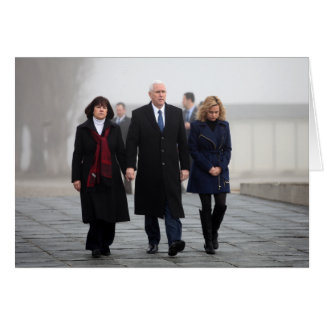 Mike, Karen, & Charlotte Pence at Dachau Card