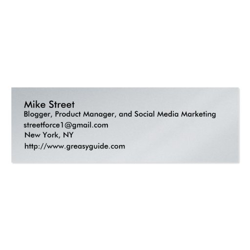 Mike Street, Blogger, Product Manager, and Soci... Business Card Template