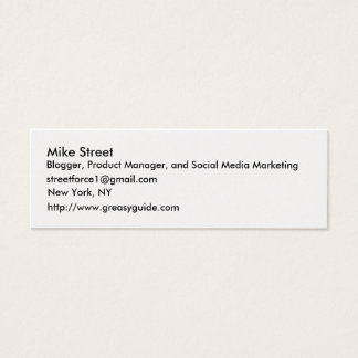 Mike Street, Blogger, Product Manager, and Soci... Mini Business Card