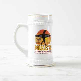Mike's Retired Surfers Bar Personalized Stein Mugs