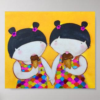 Miko and Kiko enjoying their ice-cream Poster