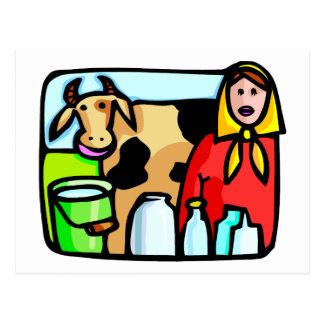 Mil Day January 11 Cow and Milk Maid Postcards