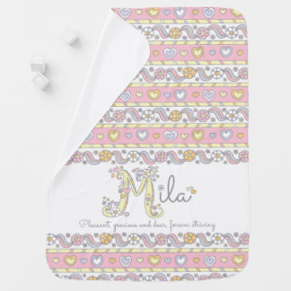 Mila name and meaning hearts girls baby blanket