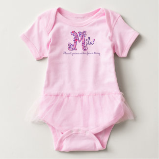 Mila name and meaning letter M baby girls clothing Baby Bodysuit