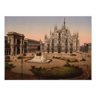 Milan Cathedral and Piazza, Lombardy, Italy Poster