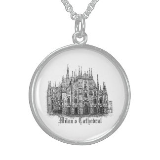 Milan Cathedral Pen & Ink Silver Plated Necklace