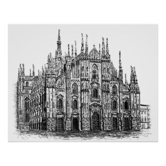 Milan cathedral's Pen & Ink Drawing Poster