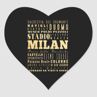 Milan City of Italy Typography Art Heart Sticker