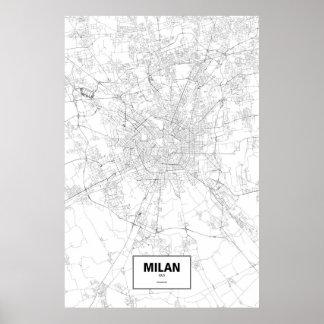 Milan, Italy (black on white) Poster