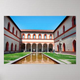 milan italy pool Sforza Castle Courtyard landmark Poster