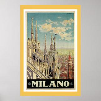 Milan Italy Vintage Travel Poster