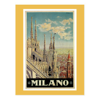 Milan Italy Vintage Travel Poster Postcard
