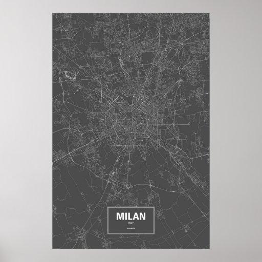 Milan, Italy (white on black) Poster