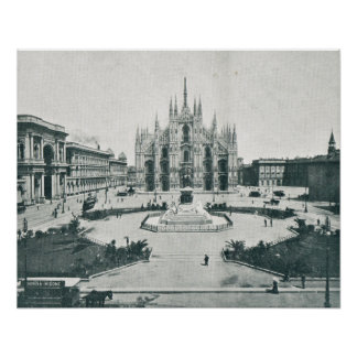 Milan Place de Domes Before installation of trams Poster