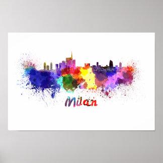 Milan skyline in watercolor poster