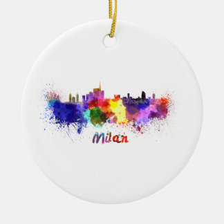Milan skyline in watercolor round ceramic decoration