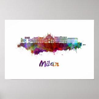 Milan V2 skyline in watercolor Poster