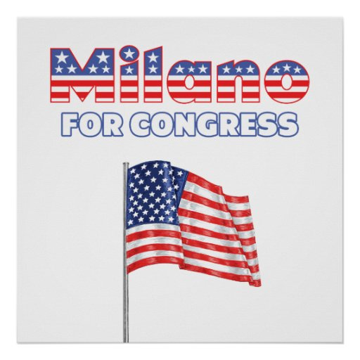 Milano for Congress Patriotic American Flag Print
