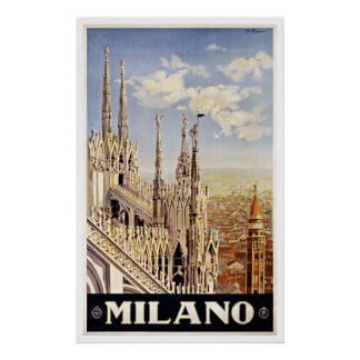 Milano Italy Church Vintage Travel Poster