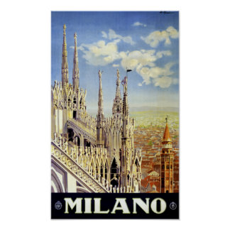Milano Italy Vintage Travel Poster Restored
