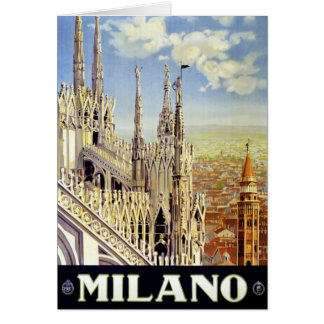 Milano Italy Vintage Travel Poster Restored Greeting Card