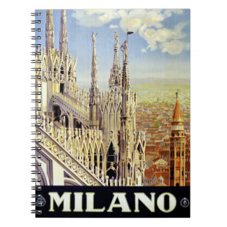 Milano Italy Vintage Travel Poster Restored Spiral Note Book