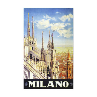 Milano Italy Vintage Travel Poster Restored Stretched Canvas Print