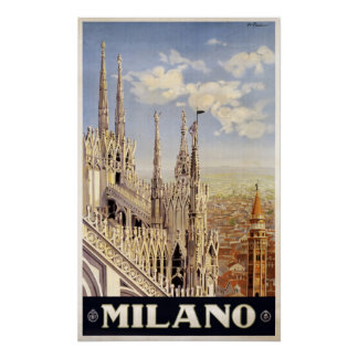 Milano (Milan) Italy vintage travel poster