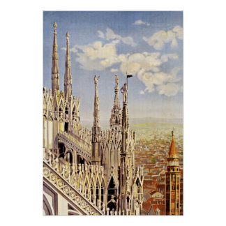 Milano Milan Italy Vintage Travel Poster
