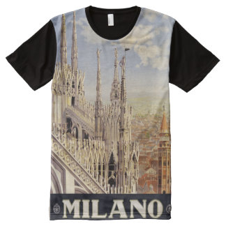 Milano Milan Italy Vintage Travel Poster shirt All-Over Print T-Shirt