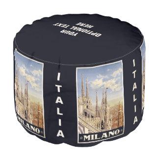 Milano (Milan) Italy vintage travel pouf Round Pouffe