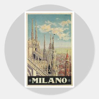 Milano Milan Italy Vintage Travel Round Sticker