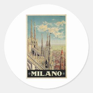 Milano Milan Italy Vintage Travel Round Stickers