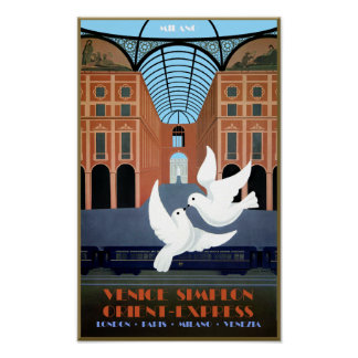Milano, Orient Express Travel Poster