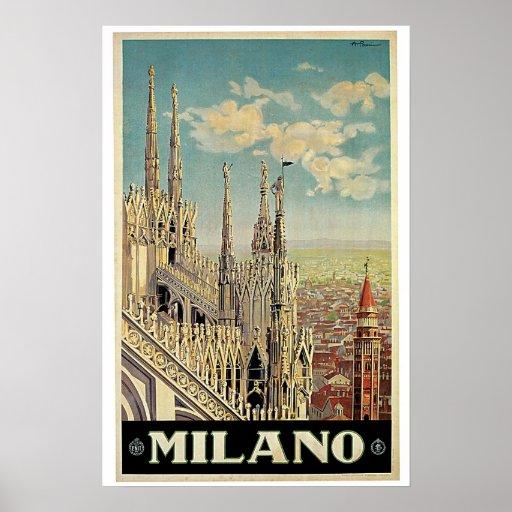 Milano Vintage Travel Poster