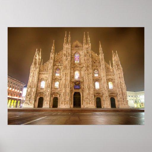 Milan's Duomo at Nighttime Poster