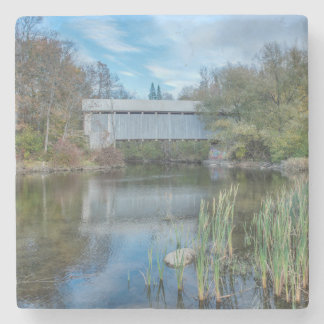 Milby Covered Bridge 2 Stone Beverage Coaster