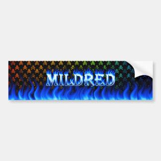 Mildred blue fire and flames bumper sticker design car bumper sticker