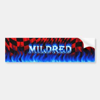 Mildred blue fire and flames bumper sticker design