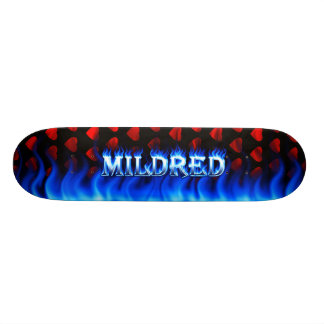 Mildred blue fire Skatersollie skateboard. 18.1 Cm Old School Skateboard Deck