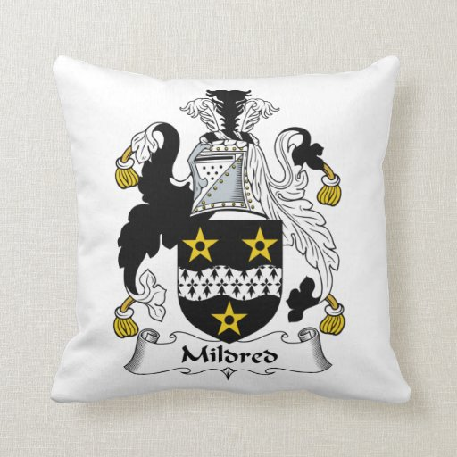 Mildred Family Crest Throw Pillows