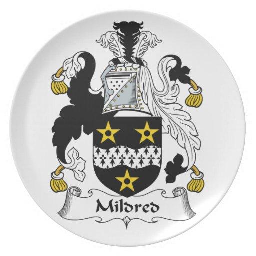 Mildred Family Crest Plates