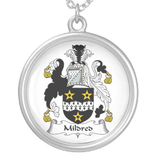 Mildred Family Crest Round Pendant Necklace
