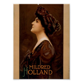 Mildred Holland Retro Theater Poster