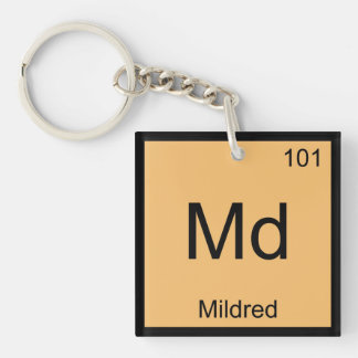 Mildred Name Chemistry Element Periodic Table Single-Sided Square Acrylic Key Ring