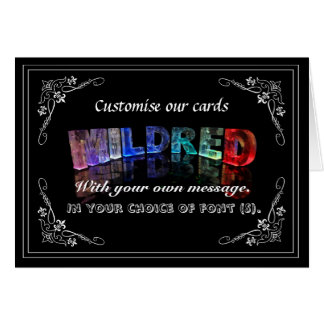 Mildred - Name in Lights greeting card Photo