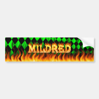 Mildred real fire and flames bumper sticker design car bumper sticker