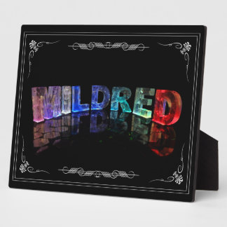 Mildred - The Name Mildred in 3D Lights Photogra Plaque