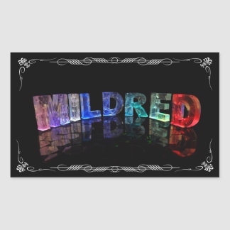 Mildred  - The Name Mildred in 3D Lights (Photogra Rectangular Sticker